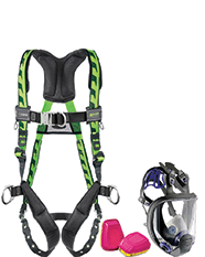 Miller fall protection harness and respiratory protection