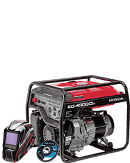 Honda generator with welding hood and grinder wheel