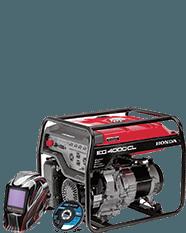 Honda generator with welding hood and grinder wheel